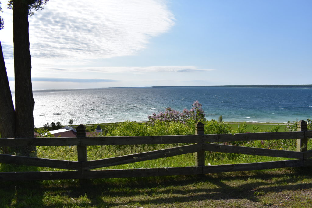 View from the east bluff on Michigan's Mackinac Island