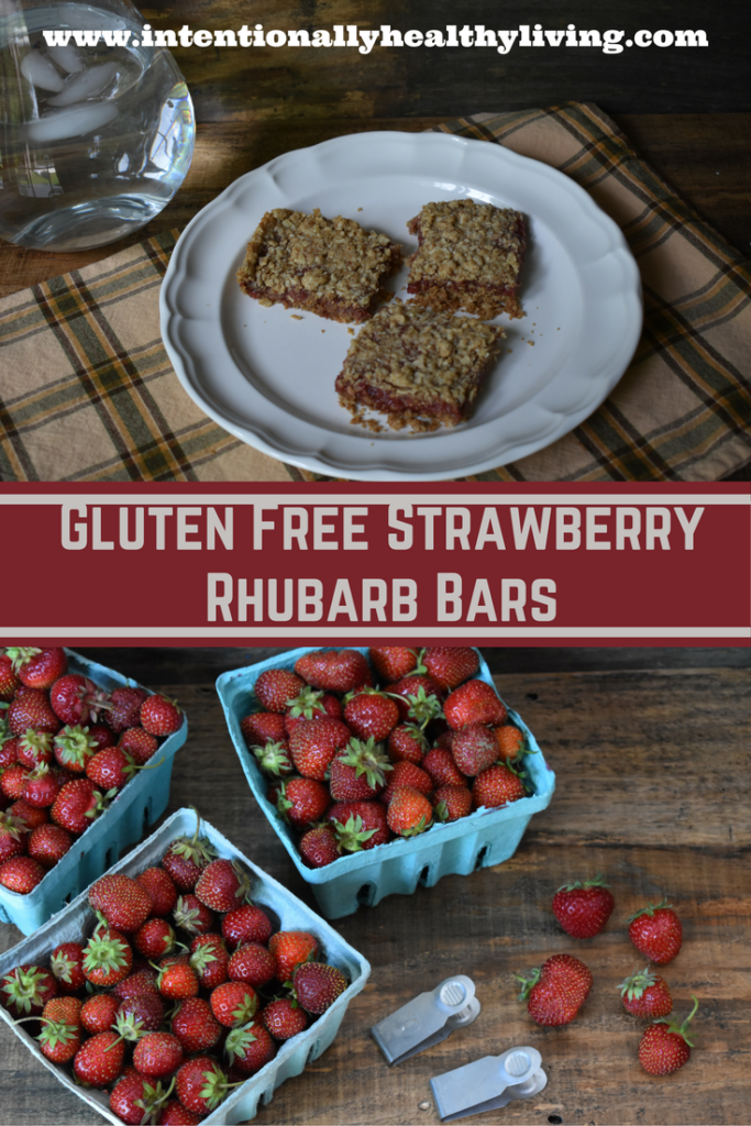 Gluten Free Strawberry Rhubarb Bars by www.intentionallyhealthyliving.com