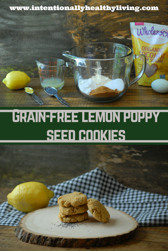 Grain Free Lemon Poppy Seed Cookies will melt in your mouth. The freshly squeezed lemon and freshly grated lemon zest make this cookie a healthier alternative.