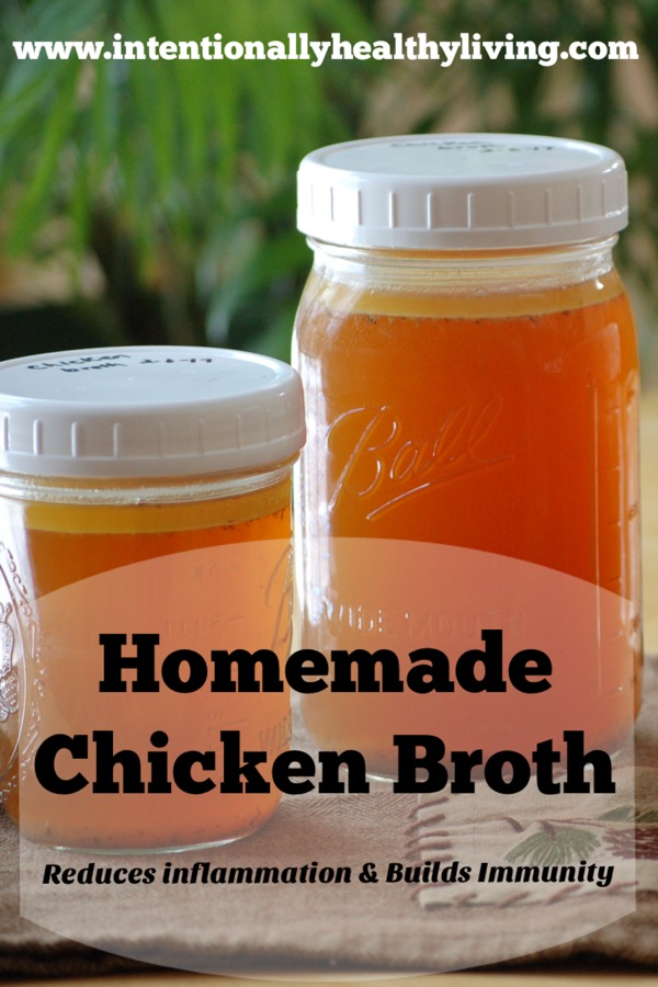 Homemade Chicken Broth is considered an elixir that both reduces inflammation and builds up our immunity. Visit www.intentionallyhealthylicing.com