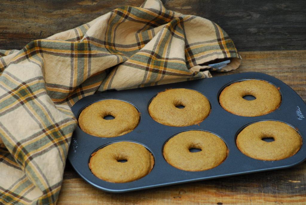 Grain Free cake doughnuts in the pan