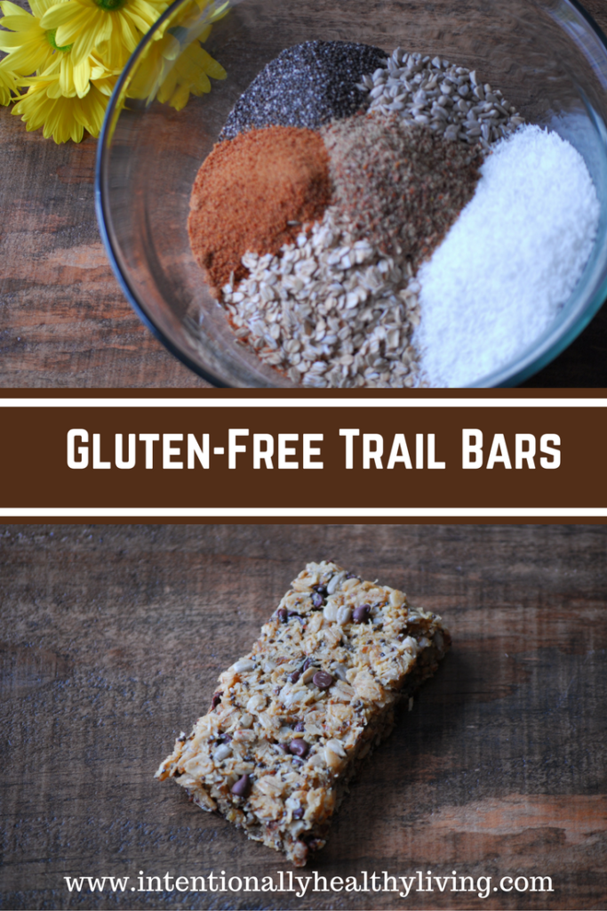 "Gluten-Free Oatmeal Chocolate Chip Trail Bars are packed with nutrients and make a great ""on the go"" snack food. Visit www.intentioanllyhealthyliving.com for the complete recipe,."