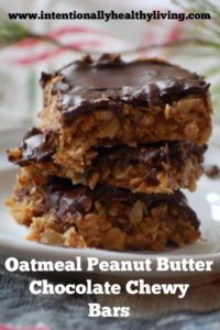 Oatmeal Peanut Butter Chocolate Chewy Bars by www.intentionallyhealthyliving.com