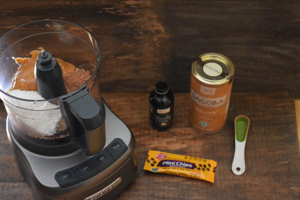 Ingredients in the food processor,