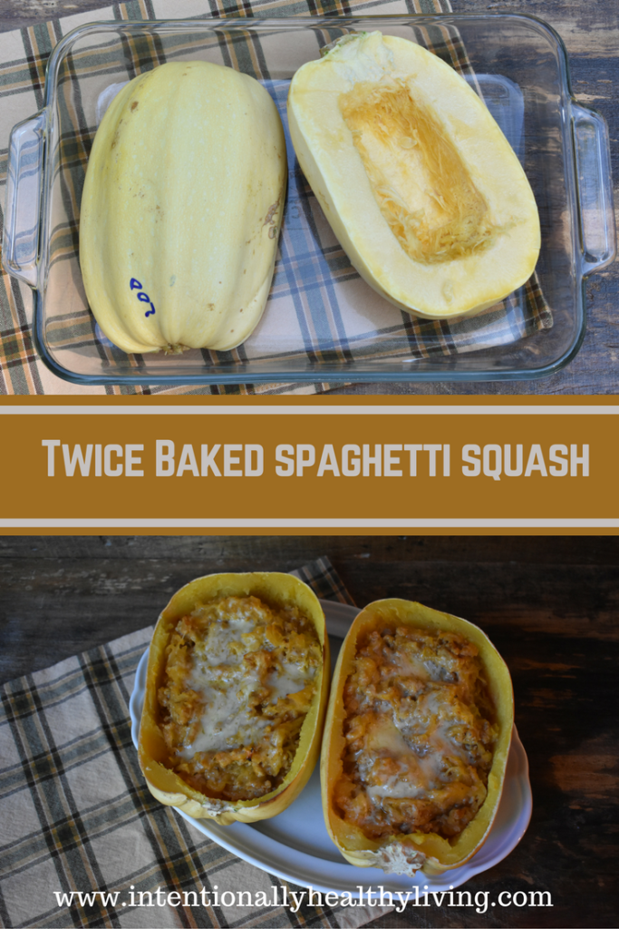 Twice Baked Spaghetti Squash by www.intentionallyhealthyliving.com