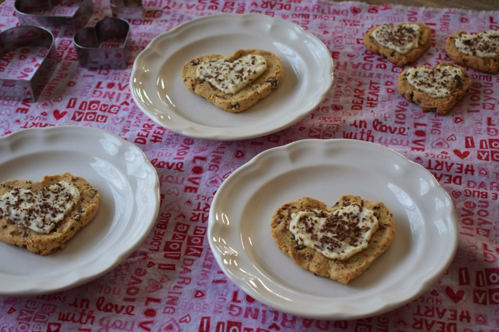 Valentine's Day Chocolate Chip Cookie Hearts