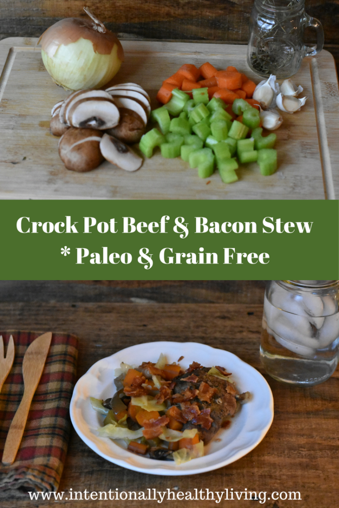 Crock Pot Beef and Bacon Stew recipe at www.intentionallyhealthyliving.com