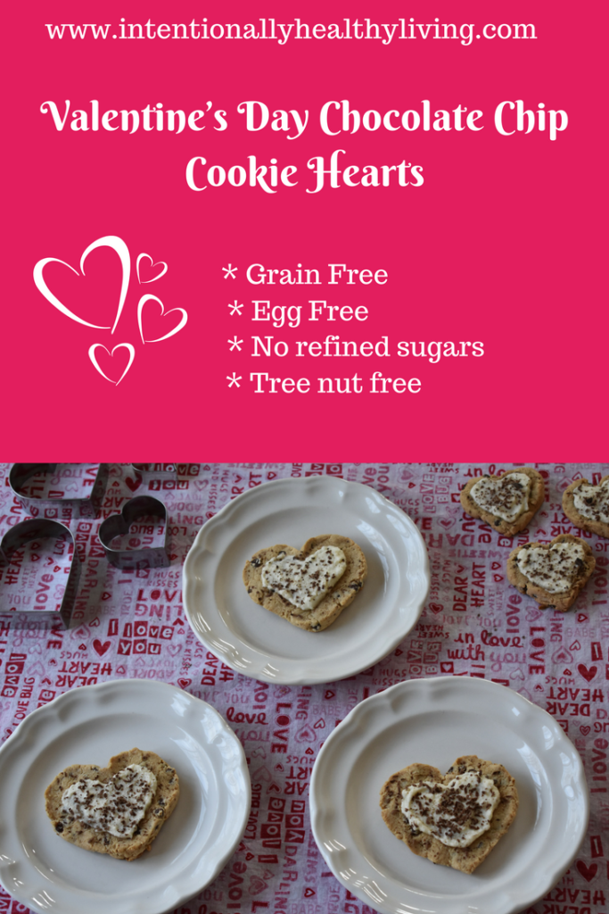 Valentine's Day Chocolate Chip Cookie Hearts by www.intentionallyhealthyliving.com